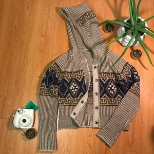 Free People Tribal Cropped Knitted Hoodie Sweater